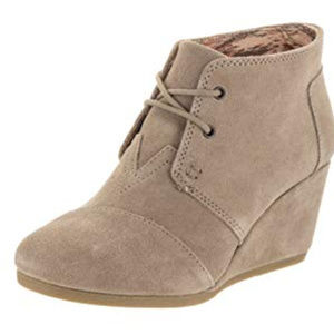 TOMS - Desert Wedge Taupe Suede 8.5
